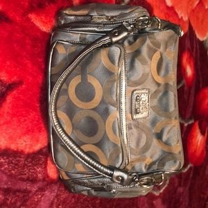 Silver/tan Coach handbag